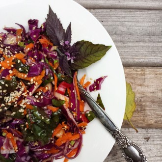 Asian-Inspired Cabbage and Swiss Chard Salad